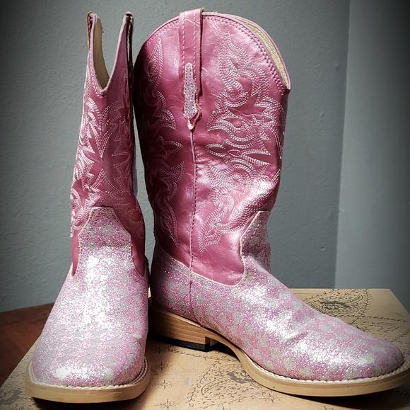 ce024a10a88 EUC!Roper Girls Pink Glitter Checker Cowgirl Boots